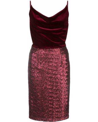 Драповое приталенное платье миди с вышивкой на бретелях Black Halo