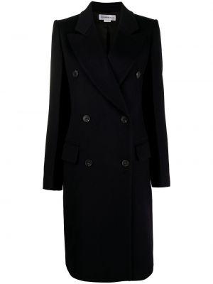 Синее кашемировое длинное пальто двубортное Victoria Beckham