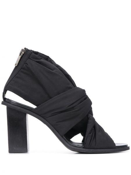 Кожаные черные босоножки на каблуке на молнии Christian Wijnants