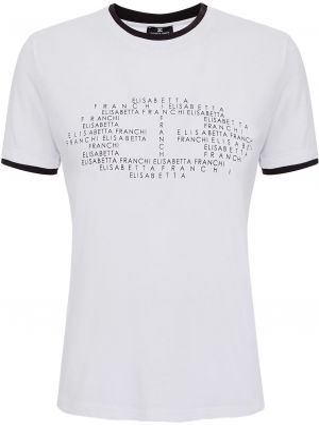 Хлопковая футболка - белая Elisabetta Franchi