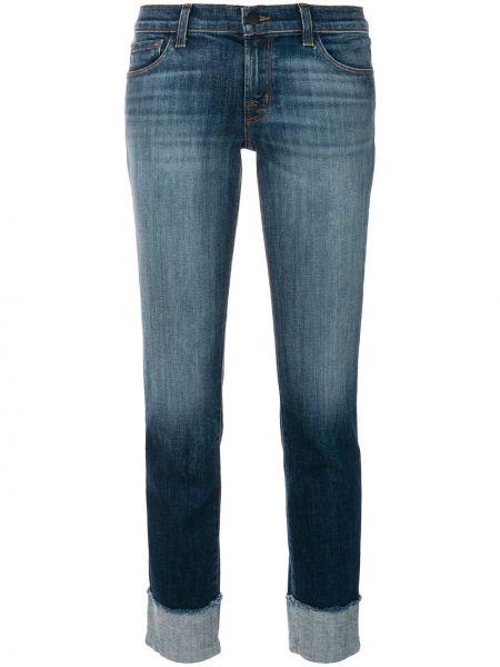 Синие укороченные джинсы на молнии с поясом J Brand