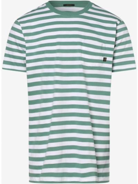 Zielony T-shirt basic w paski Denham