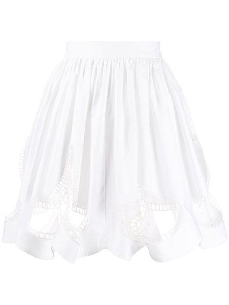 Белая с завышенной талией юбка с вышивкой на молнии Christopher Kane