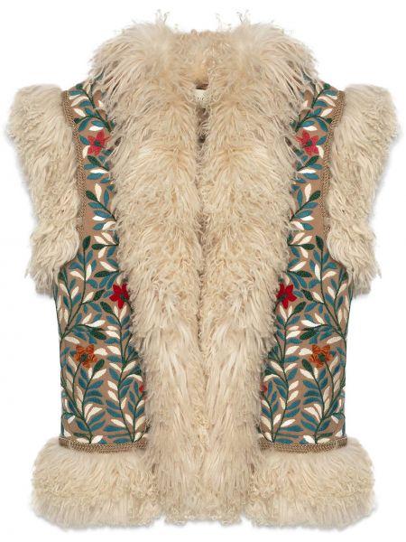 Beżowa kamizelka skórzana z haftem Gucci
