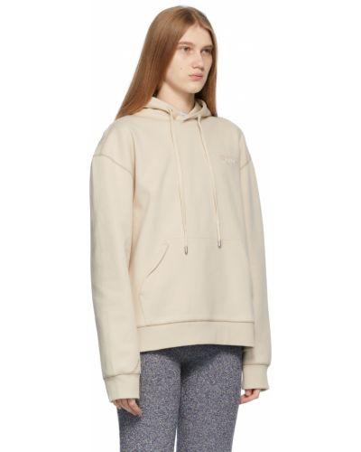 Biała bluza długa z kapturem z długimi rękawami Ader Error