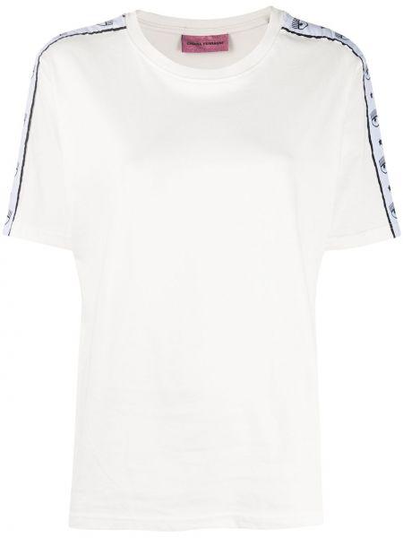 Хлопковая белая прямая футболка с круглым вырезом Chiara Ferragni