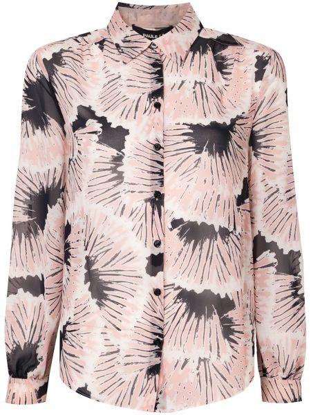 С рукавами розовая классическая блузка с длинным рукавом с воротником Paule Ka