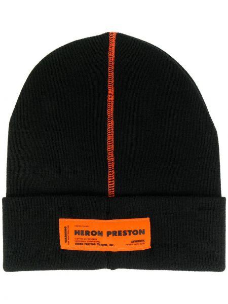 Trykotowy kapelusz z logo czarny Heron Preston