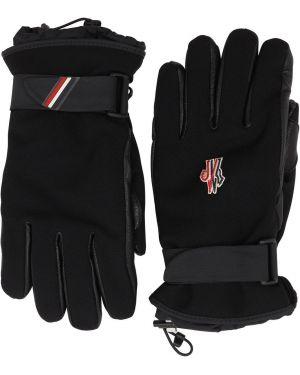 Czarne rękawiczki skorzane Moncler Grenoble