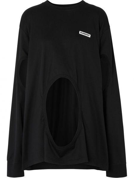 Черный свитер в рубчик с круглым вырезом круглый Burberry