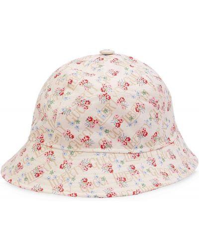 Biały kapelusz w kwiaty z printem Gucci