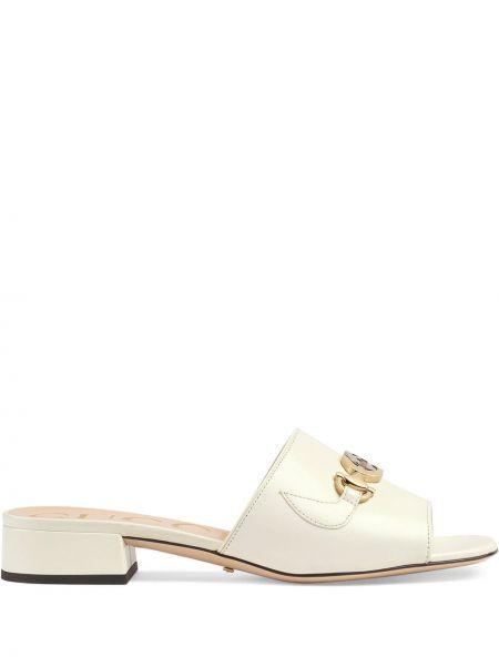 Сандалии белый на каблуке Gucci