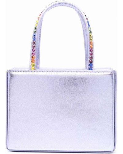 Кожаная сумка - фиолетовая Amina Muaddi