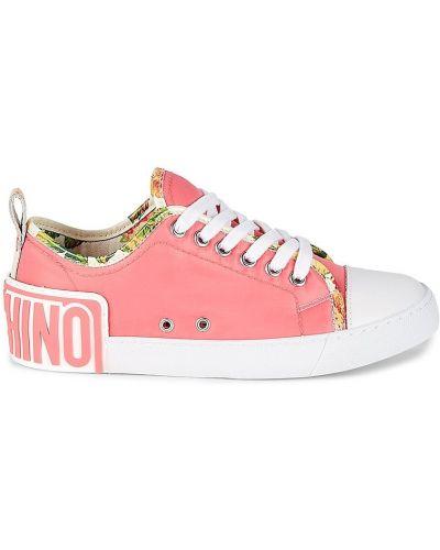 Кожаные кроссовки - розовые Moschino