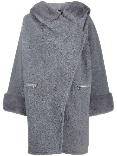 Синее пальто с капюшоном с запахом на молнии из овчины Cara Mila