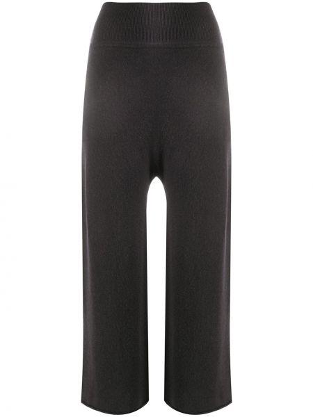 Серые расклешенные укороченные брюки с карманами с высокой посадкой Sminfinity