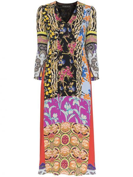 Платье миди пэчворк с V-образным вырезом Etro