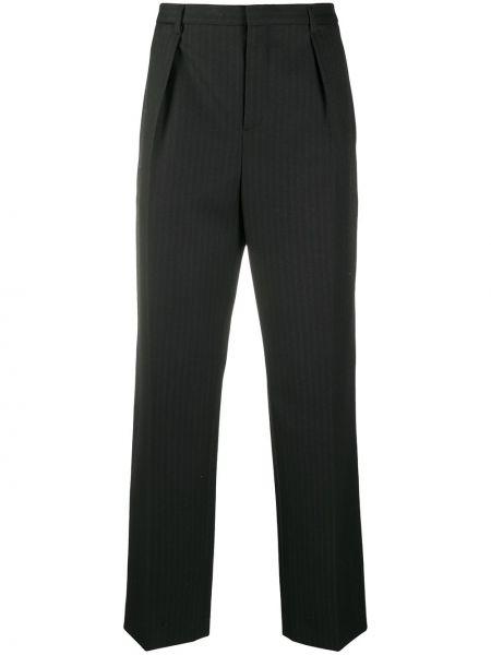 Spodni wełniany czarny spodnie z paskiem Saint Laurent