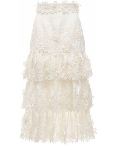 Biały bielizna spódnica midi prążkowany Zimmermann
