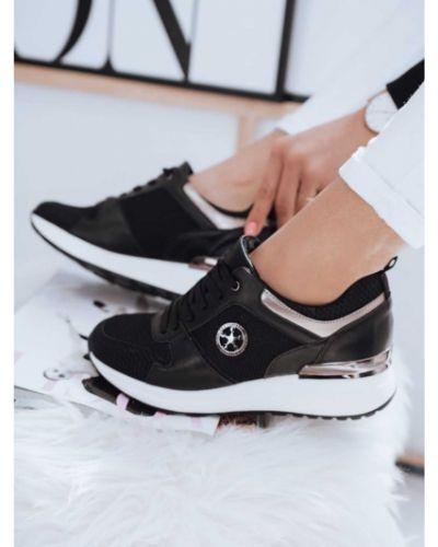 Czarne sneakersy skorzane koronkowe Dstreet