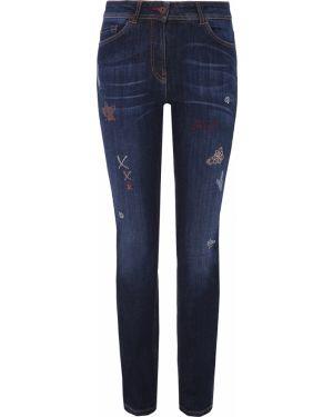 Зауженные джинсы-скинни со стразами с карманами на пуговицах Ppep