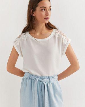 Блузка с коротким рукавом белая весенний Springfield