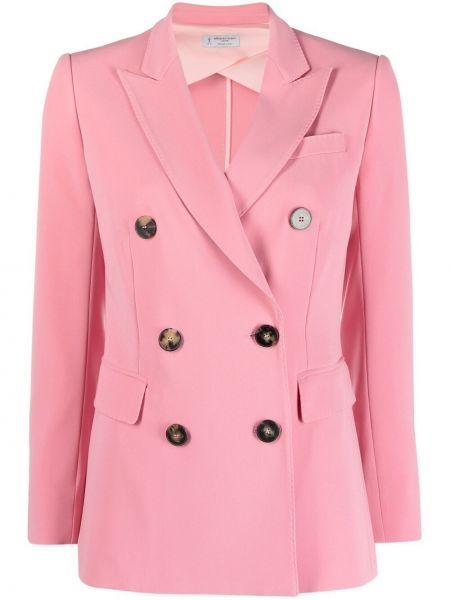 Розовый приталенный классический пиджак двубортный Alberto Biani