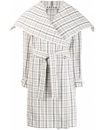 Белое длинное пальто с капюшоном Aalto