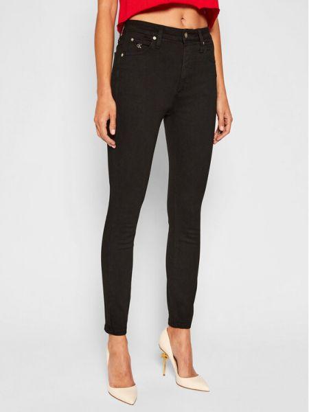 Czarne jeansy z wysokim stanem Calvin Klein Jeans