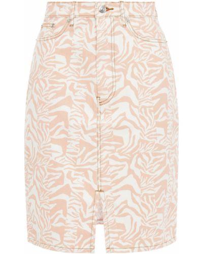 Biała spódnica jeansowa z paskiem bawełniana Etre Cecile