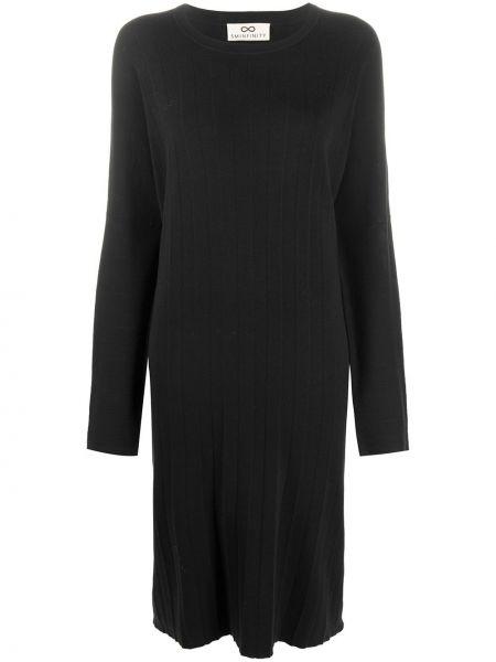 Черное платье свободного кроя с вырезом с карманами Sminfinity