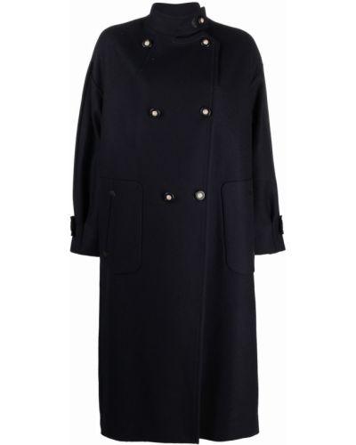Синее однобортное пальто Giorgio Armani