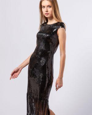 Платье с бахромой черное B