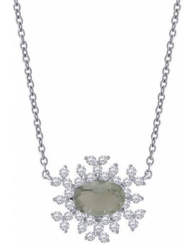 Zielony złoty naszyjnik z diamentem Hueb