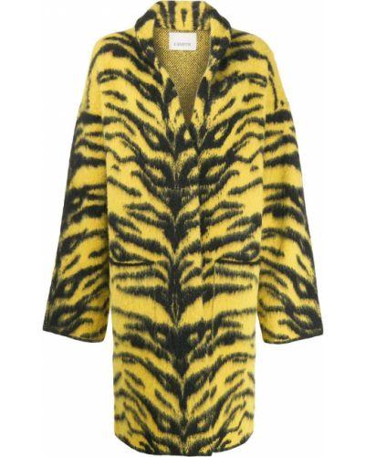 Желтое шерстяное длинное пальто с накладными карманами Laneus