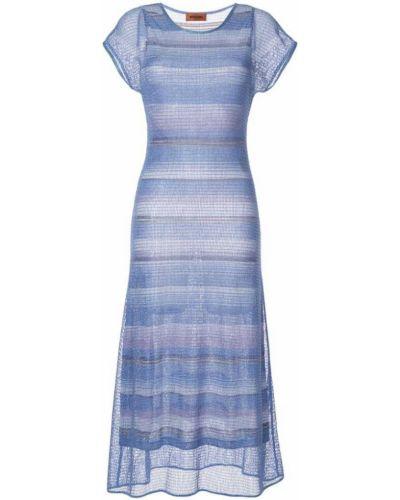 Платье мини с вырезом синее Missoni