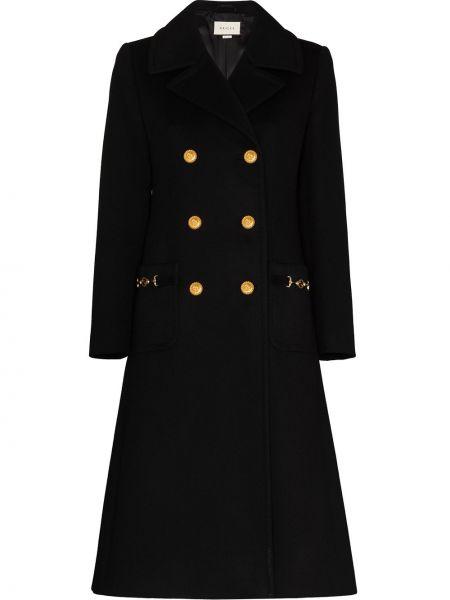 Czarny wełniany płaszcz dwurzędowy Gucci