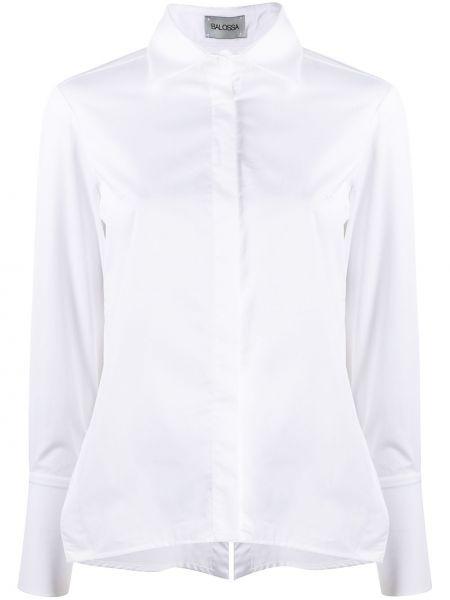 Хлопковая белая рубашка с воротником с длинными рукавами Balossa White Shirt