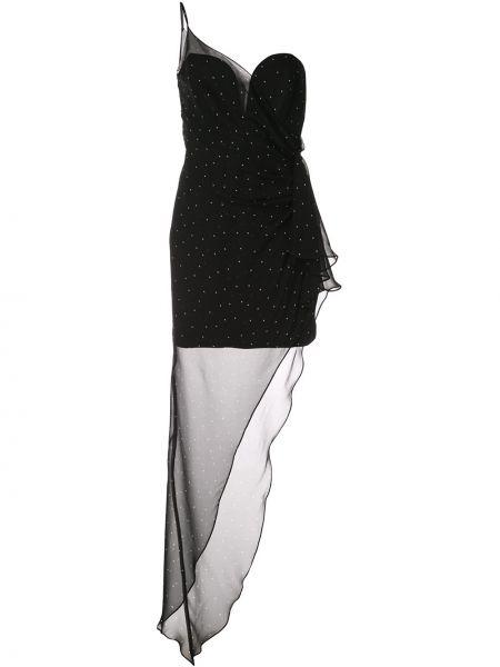 Черное асимметричное шелковое платье на молнии Michelle Mason
