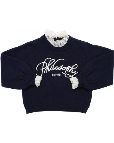 Кашемировый ажурный свитер с воротником с вышивкой Philosophy Di Lorenzo Serafini