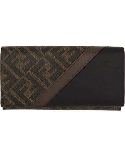 Черный кожаный кошелек с карманами Fendi
