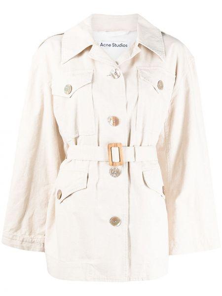 Ватная бежевая длинная куртка для полных Acne Studios