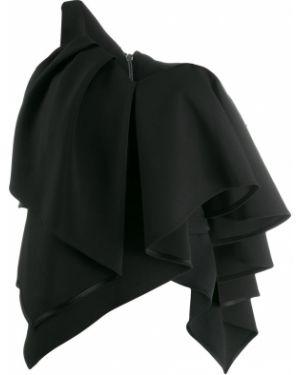 Черный асимметричный топ с оборками Avaro Figlio
