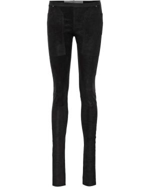 Черные кожаные леггинсы Rick Owens