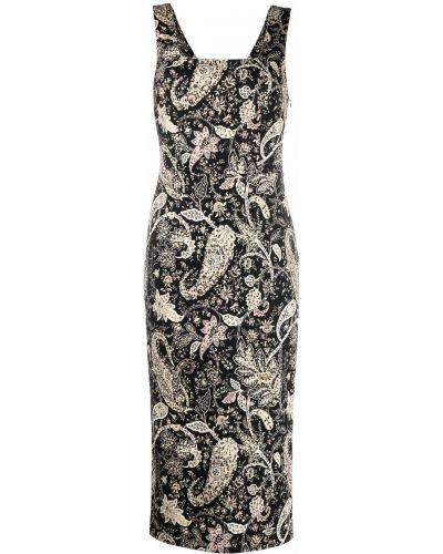 Черное шерстяное платье миди Etro