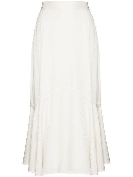 Белая с завышенной талией юбка миди с жемчугом из вискозы Silvia Tcherassi