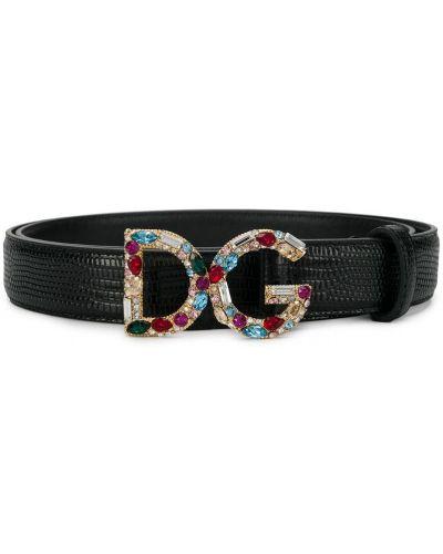 Ремень черный с логотипом Dolce & Gabbana