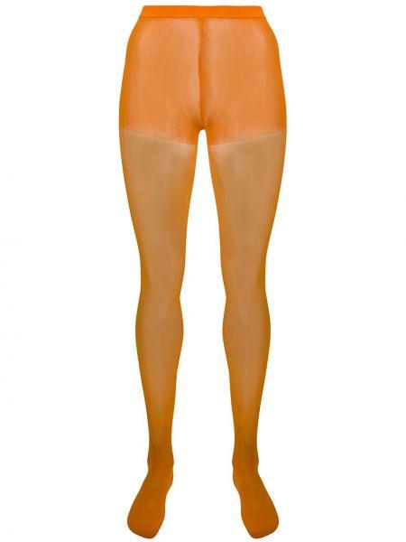 Pomarańczowe wysoki skarpety z nylonu z wysokim stanem Junya Watanabe