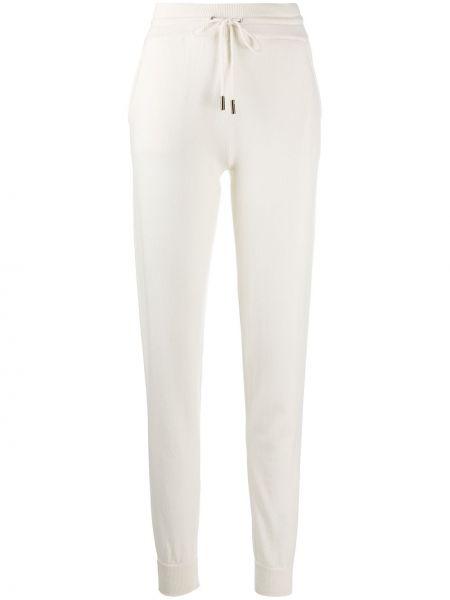 С кулиской кашемировые белые зауженные брюки Lamberto Losani