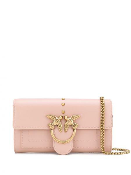 С ремешком розовая кожаная сумка через плечо Pinko